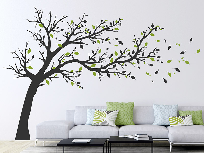 wandtattoo gro er baum im wind von. Black Bedroom Furniture Sets. Home Design Ideas