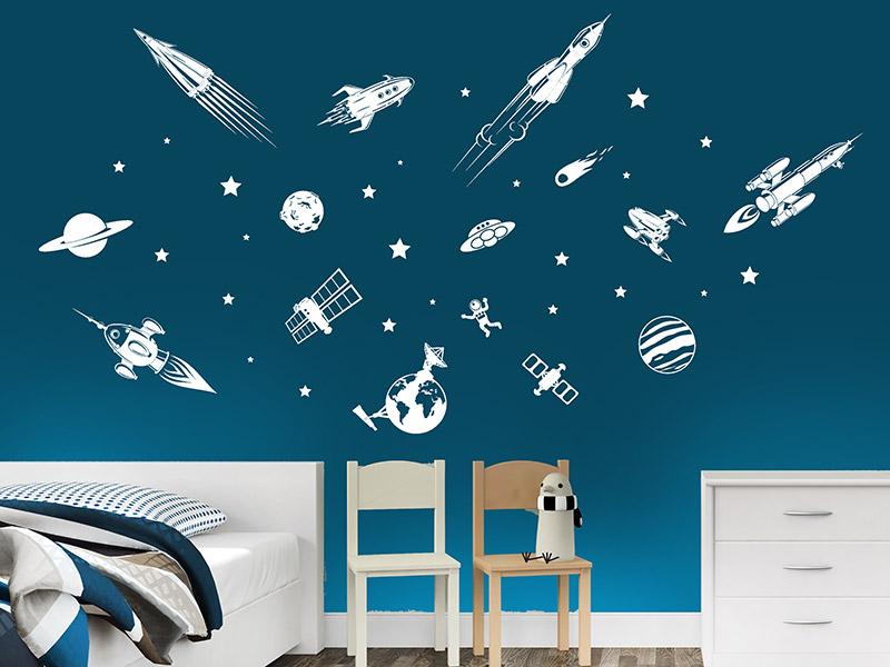 Wandtattoo weltraum reuniecollegenoetsele for Weltraum deko kinderzimmer
