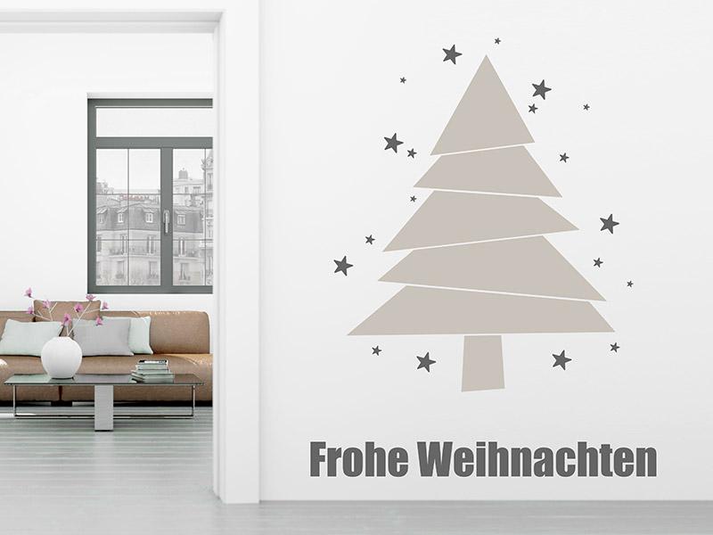 Moderner Weihnachtsbaum.Wandtattoo Moderner Weihnachtsbaum Mit Sternen Wandtattoos De