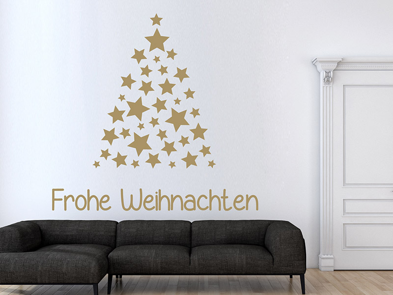 Wandtattoo sterne tannenbaum frohe weihnachten - Wandtattoo sterne grau ...