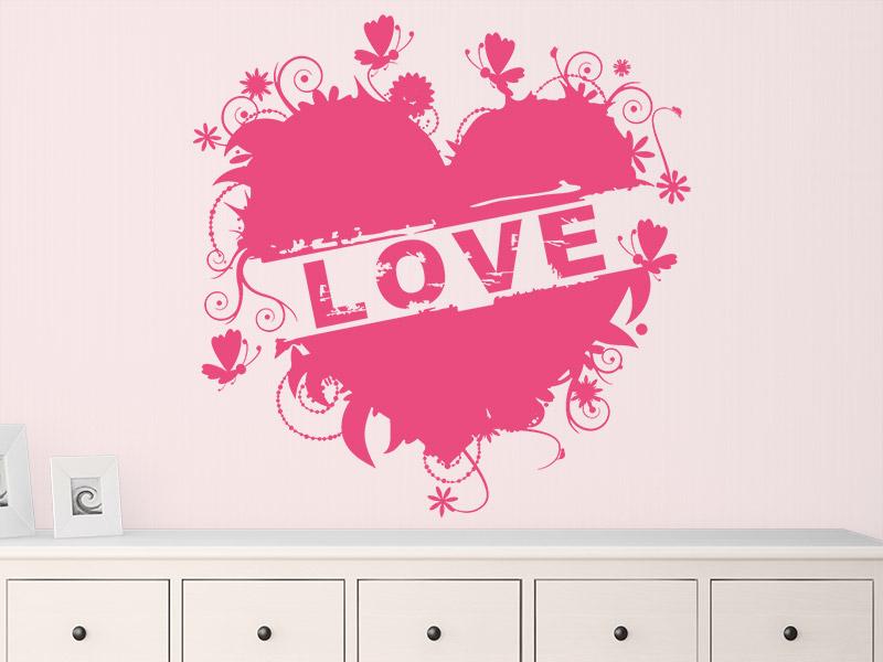 wandtattoo love herz. Black Bedroom Furniture Sets. Home Design Ideas