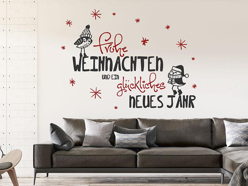 wandtattoo frohe weihnachten mit schneeflocken. Black Bedroom Furniture Sets. Home Design Ideas