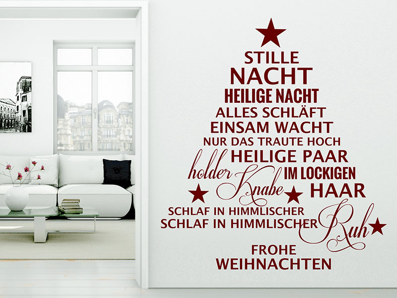 wandtattoo stille nacht heilige nacht weihnachtsbaum von. Black Bedroom Furniture Sets. Home Design Ideas