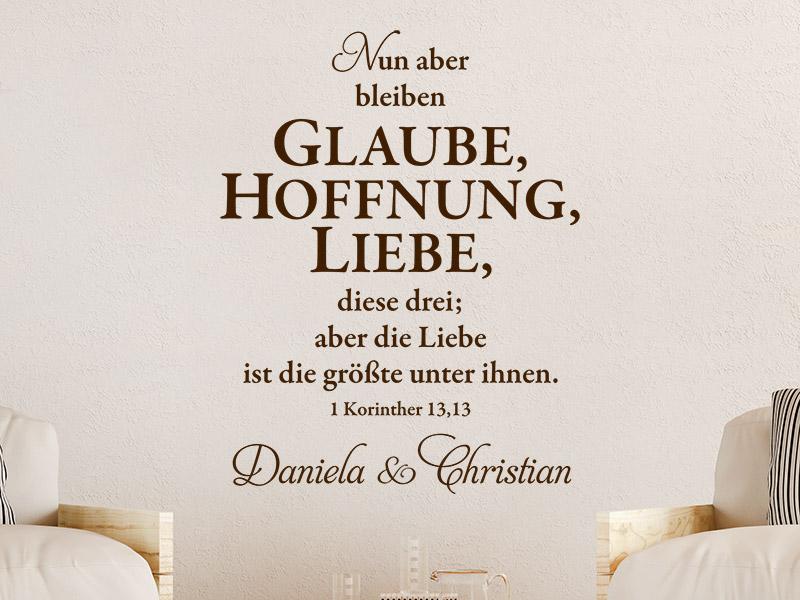 Gemeinsame Wandtattoo Glaube Hoffnung Liebe mit Namen | Wandtattoos.de @HH_66