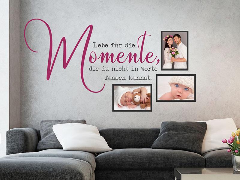 wandtattoo fotorahmen lebe f r die momente. Black Bedroom Furniture Sets. Home Design Ideas