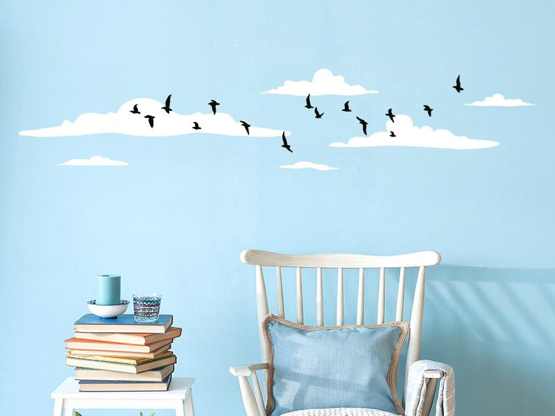 Wandtattoo Bordüre Wolken mit Vogelschwarm - Wandtattoos.de