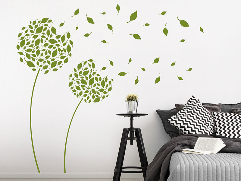 wandtattoo bl tenbl tter im wind pusteblume. Black Bedroom Furniture Sets. Home Design Ideas