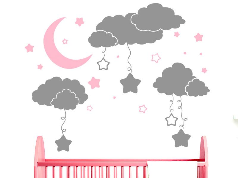 Wandtattoo Wolkchen Mit Sternen Furs Babyzimmer Wandtattoos De