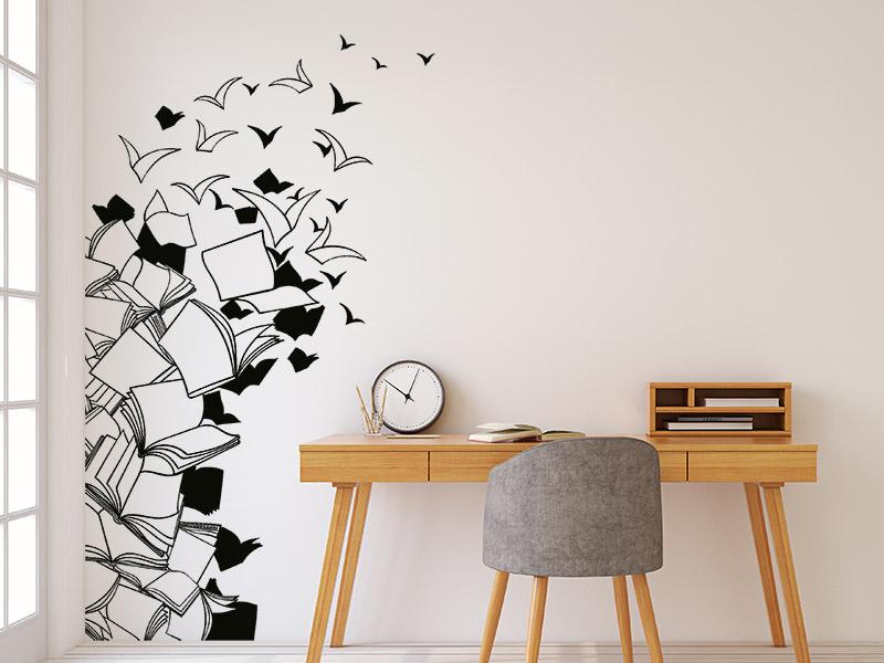 wandbanner b cher wandtattoo f r raumecken. Black Bedroom Furniture Sets. Home Design Ideas