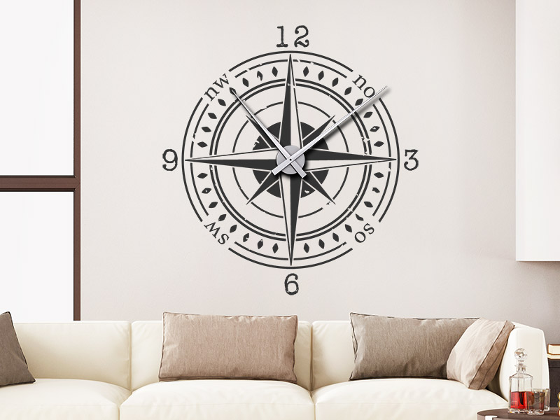 Wandtattoo Uhr Kompass Wanduhr Himmelsrichtungen Wandtattoos De
