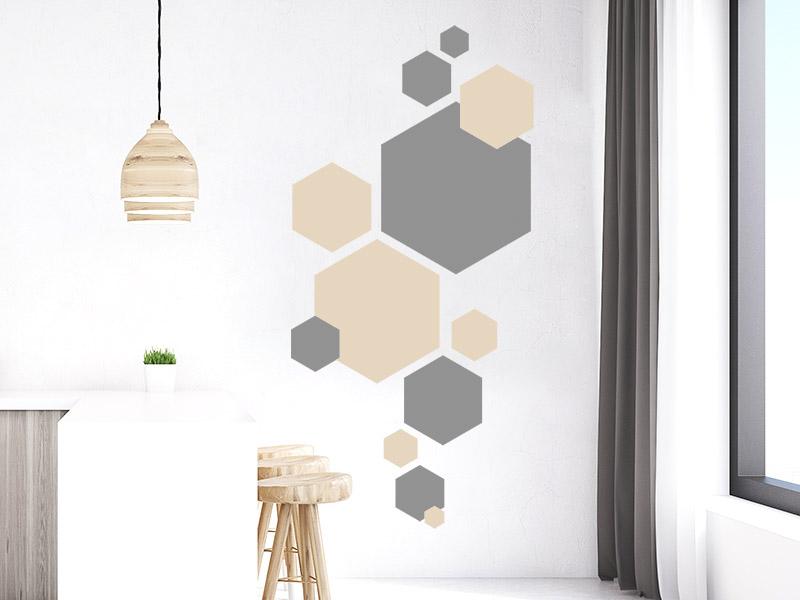 Wandtattoo Hexagon Set Zweifarbig