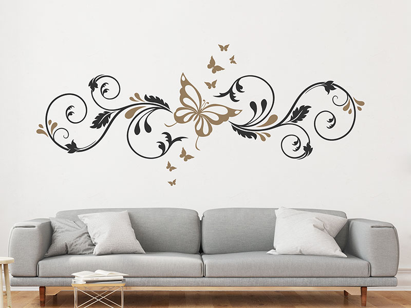 Wandtattoo ornament mit schmetterlingen for 3d wandtattoo schlafzimmer