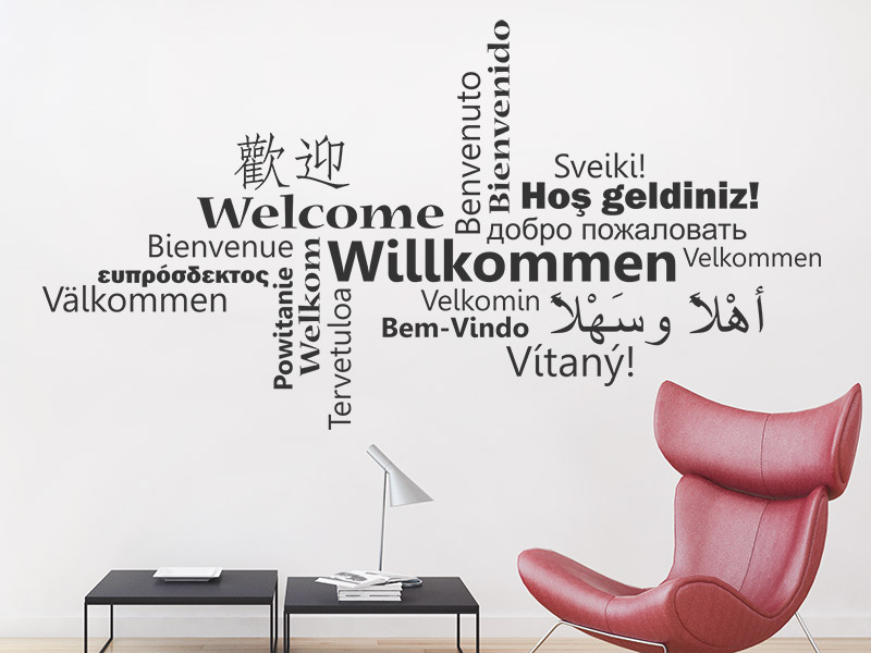 Wonderful Wandtattoo Willkommen Multikulturell