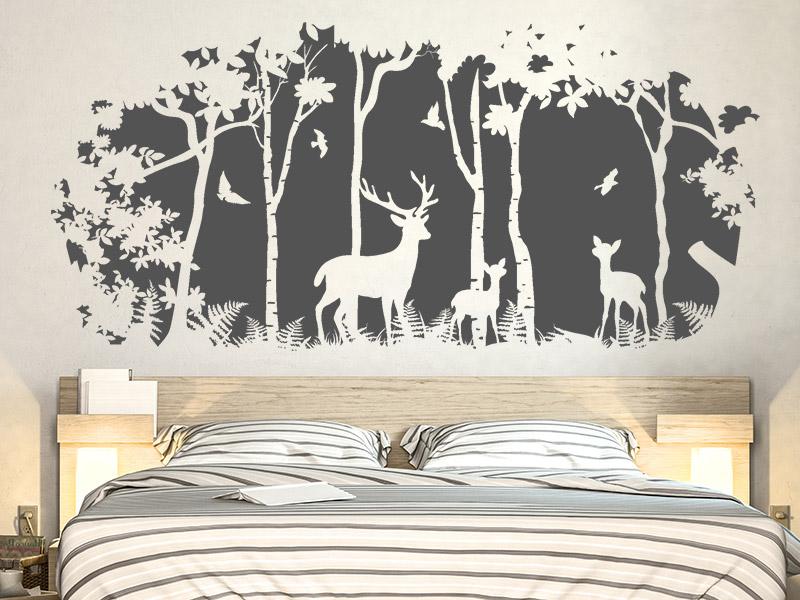 wandtattoo waldlichtung hirsche birken. Black Bedroom Furniture Sets. Home Design Ideas