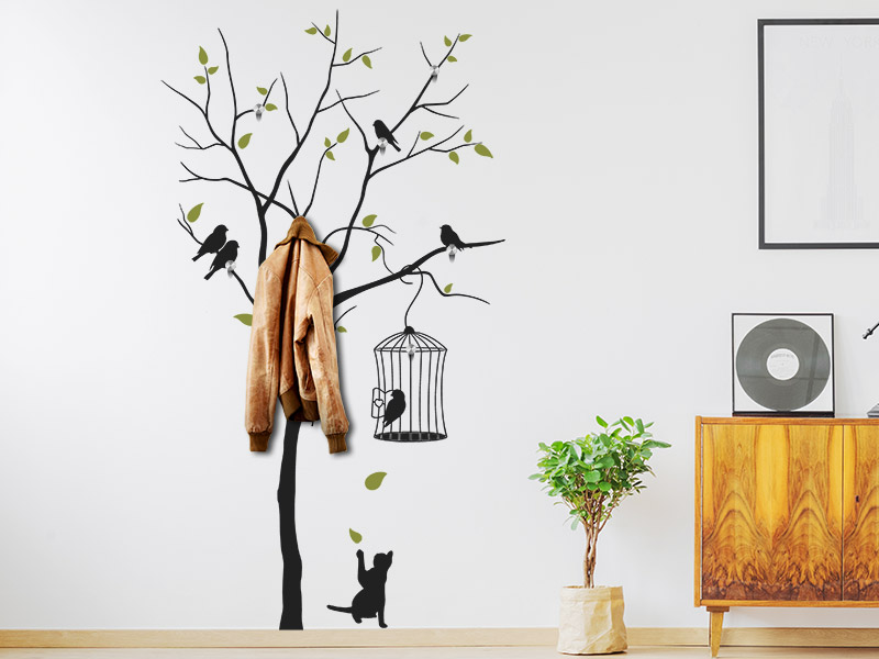 wandtattoo garderobe baum mit v geln. Black Bedroom Furniture Sets. Home Design Ideas