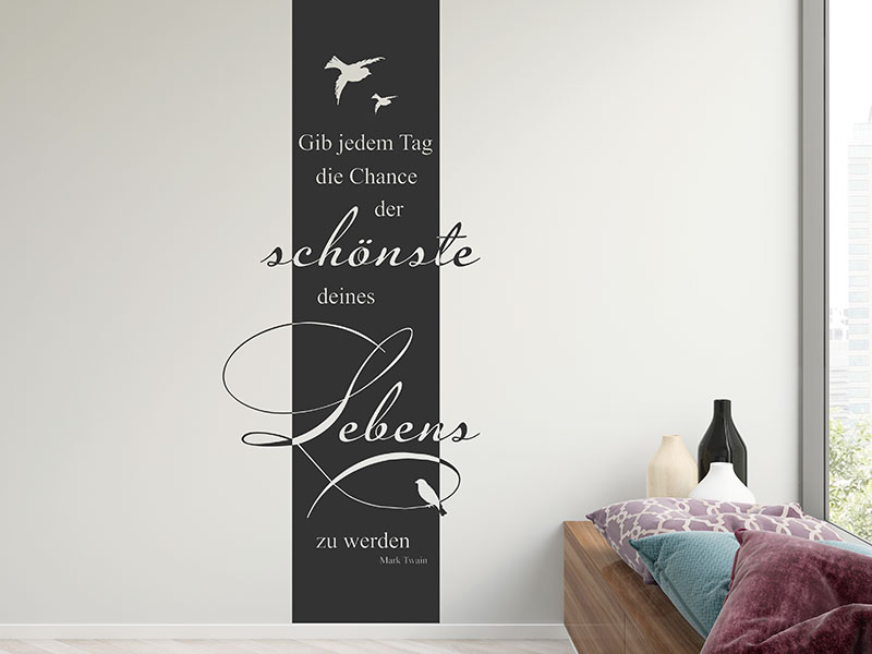 wandtattoo wandbanner gib jedem tag die chance. Black Bedroom Furniture Sets. Home Design Ideas