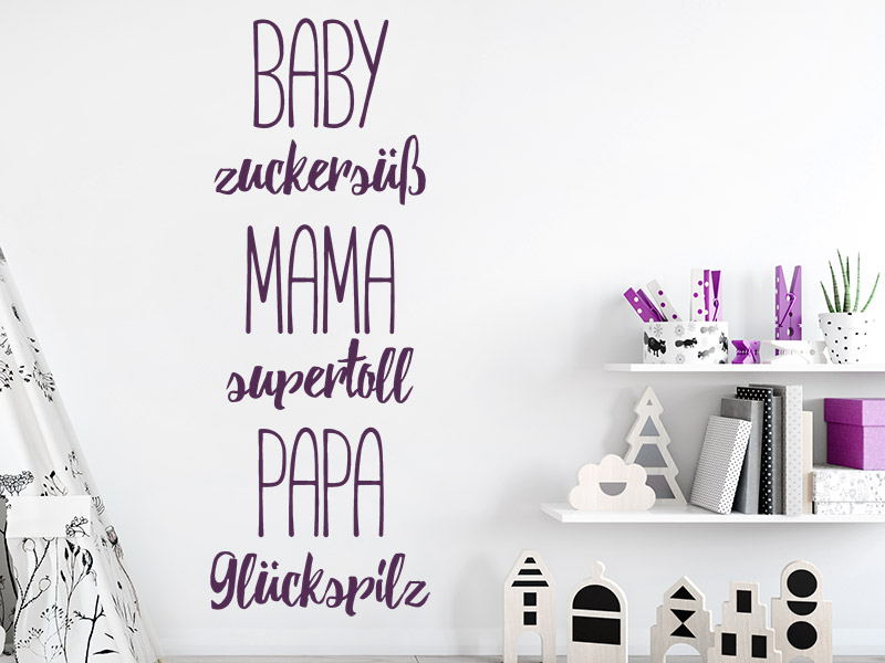 wandtattoo baby mama papa. Black Bedroom Furniture Sets. Home Design Ideas