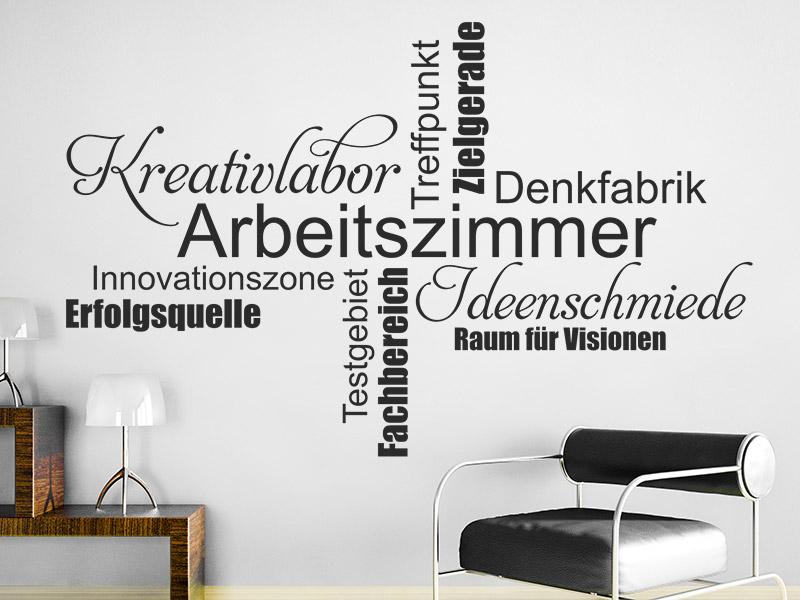 wandtattoo arbeitszimmer wortwolke. Black Bedroom Furniture Sets. Home Design Ideas