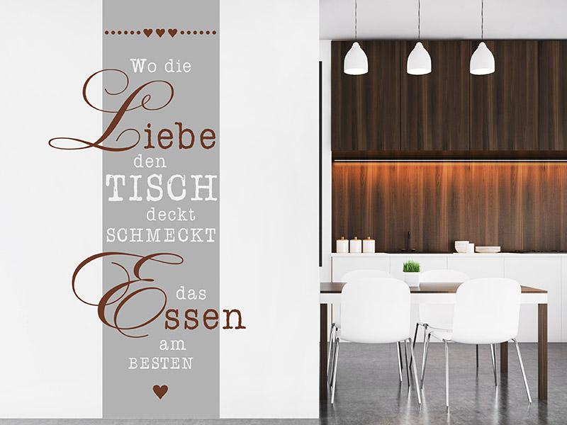Wandtattoo Wandbanner Wo Die Liebe Den Tisch Wandtattoos De