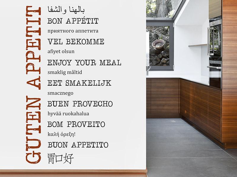 Wandtattoo Guten Appetit in vielen Sprachen | Wandtattoos.de