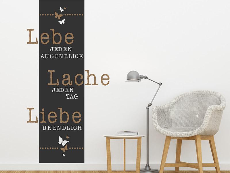 wandtattoo wandbanner lebe lache liebe. Black Bedroom Furniture Sets. Home Design Ideas