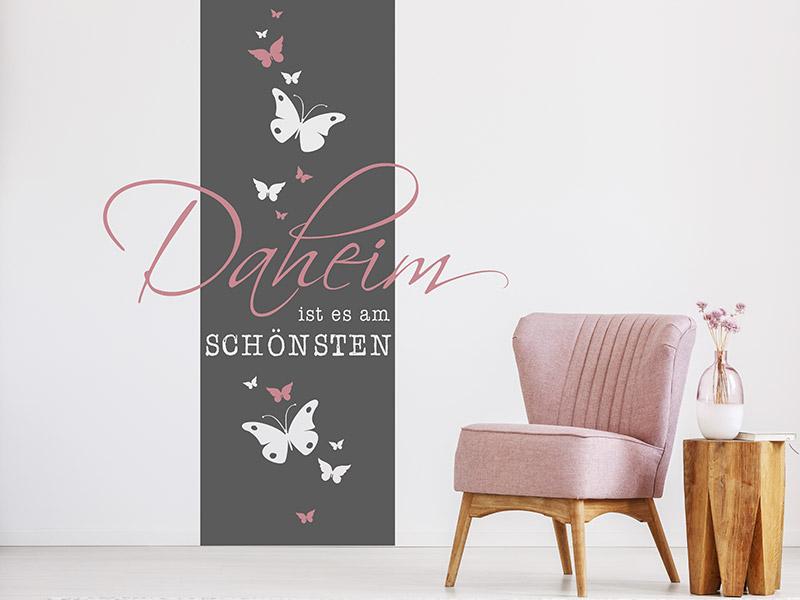 wandtattoo wandbanner daheim. Black Bedroom Furniture Sets. Home Design Ideas
