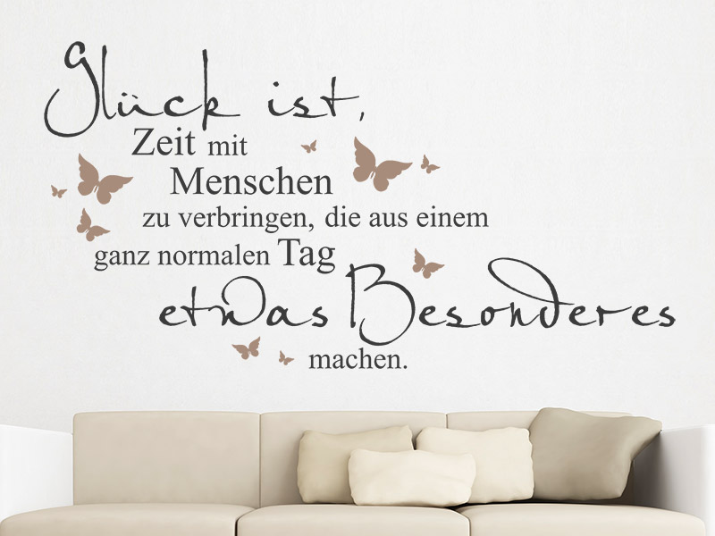 wandtattoo gl ck ist zeit mit menschen zu. Black Bedroom Furniture Sets. Home Design Ideas