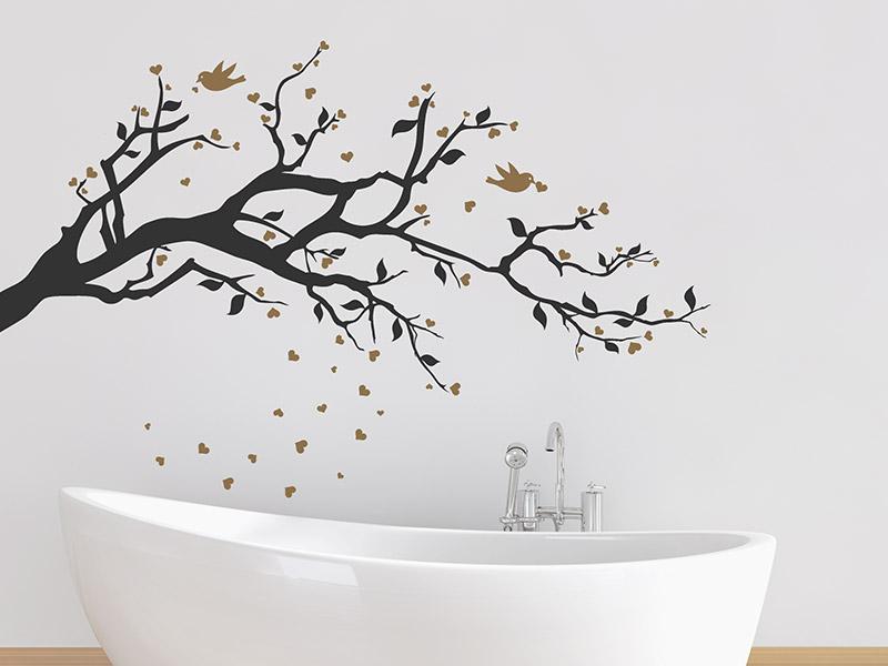 wandtattoo ast mit herzen und v geln. Black Bedroom Furniture Sets. Home Design Ideas