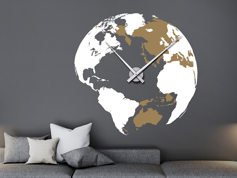 wandtattoo globus uhr weltkugel. Black Bedroom Furniture Sets. Home Design Ideas