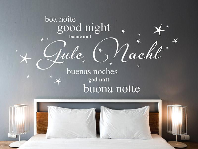 Wandtattoo Gute Nacht in verschiedenen Sprachen | Wandtattoos.de
