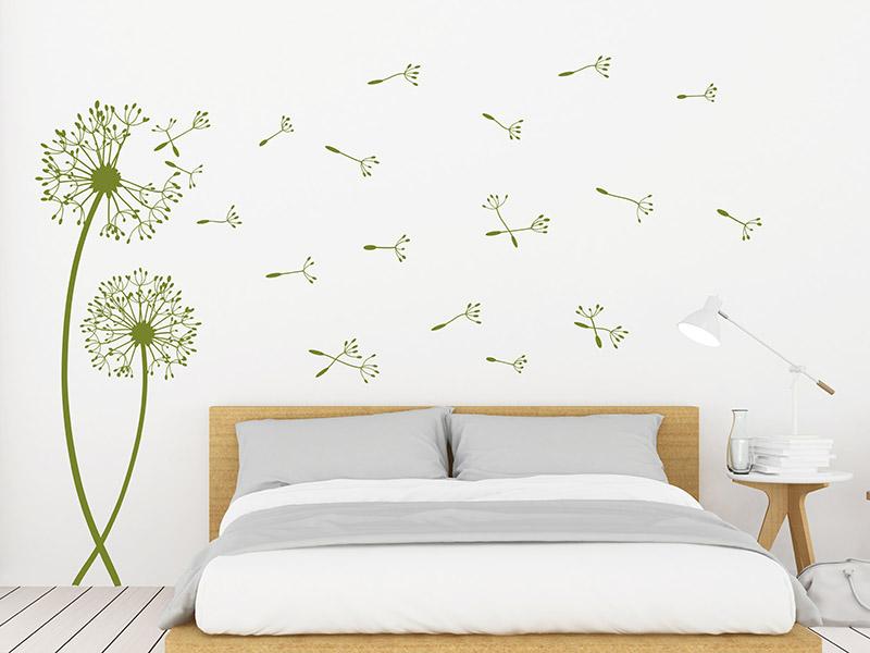 wandtattoo pustebumen mit fliegenden schirmchen. Black Bedroom Furniture Sets. Home Design Ideas