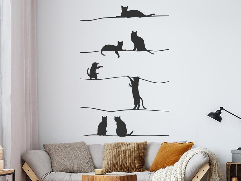Wandtattoo katzen auf dem seil - Katzen wandtattoo ...