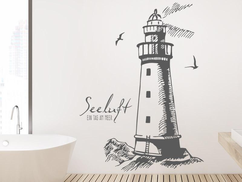 wandtattoo seeluft ein tag am meer leuchtturm. Black Bedroom Furniture Sets. Home Design Ideas