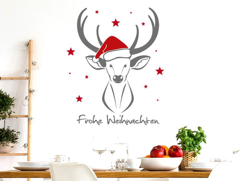 Wandtattoo weihnachtshirsch mit sternen frohe for Wandtattoo weihnachten