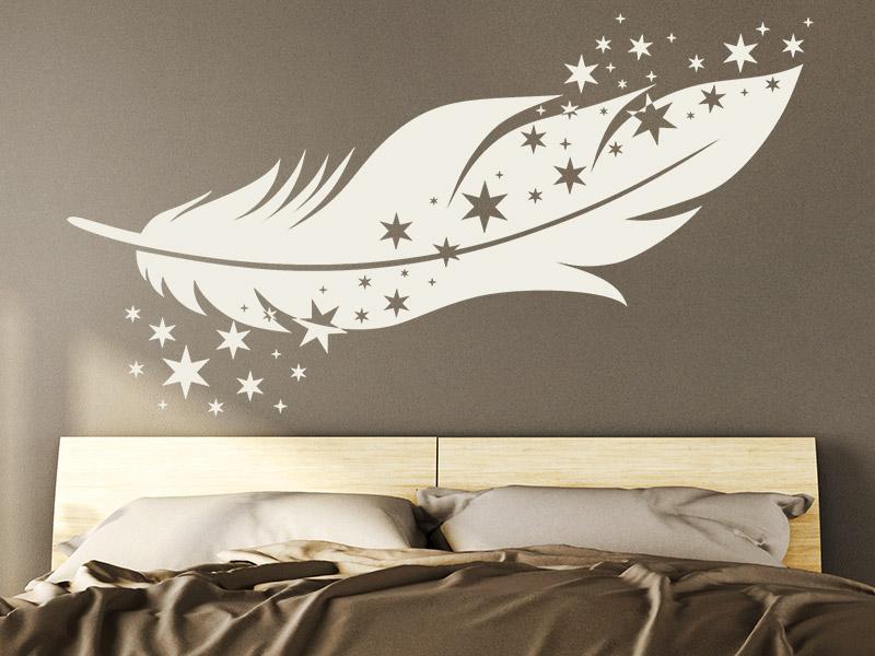 wandtattoo feder mit sternen. Black Bedroom Furniture Sets. Home Design Ideas