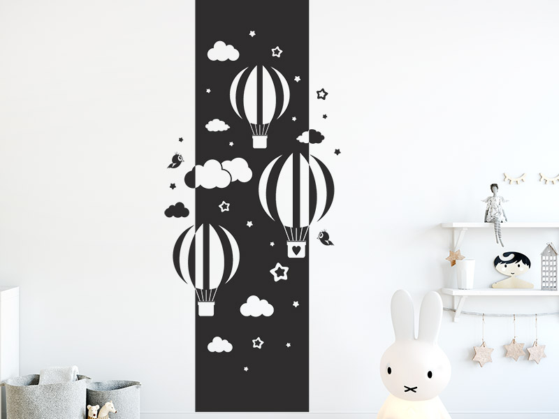 wandbanner hei luftballons mit wolken xxl. Black Bedroom Furniture Sets. Home Design Ideas