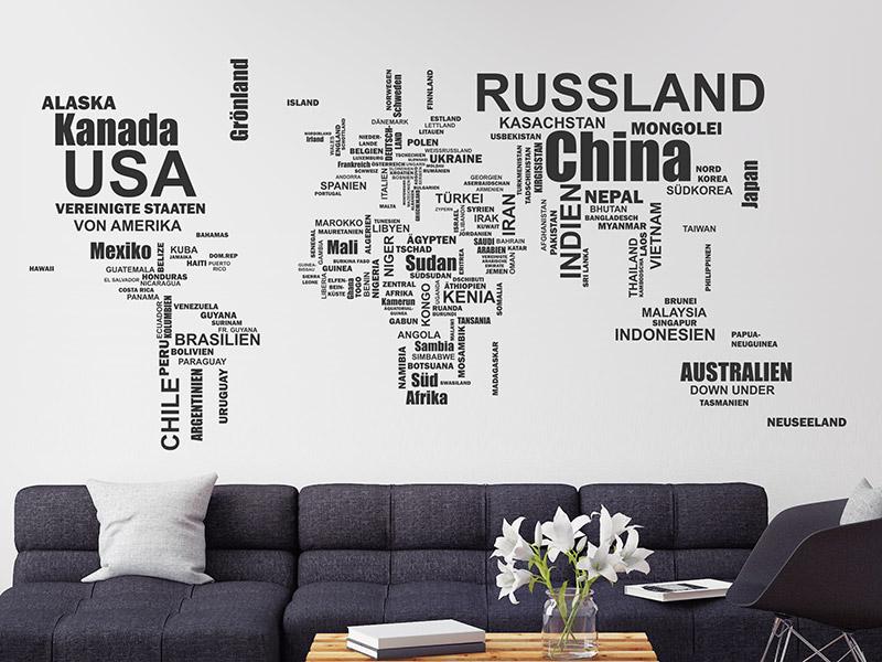 Wandtattoo Weltkarte Aus Landernamen Wandtattoos De