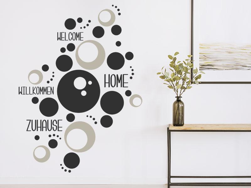 wandtattoo welcome home kreise ornament. Black Bedroom Furniture Sets. Home Design Ideas