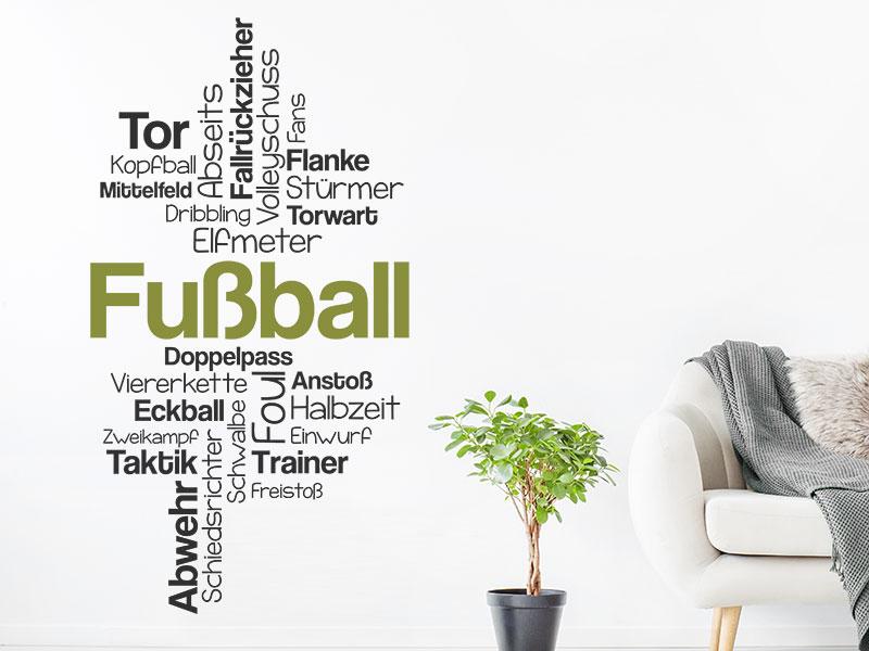 Wandtattoo Fussball Worte Als Wortwolke Wandtattoos De
