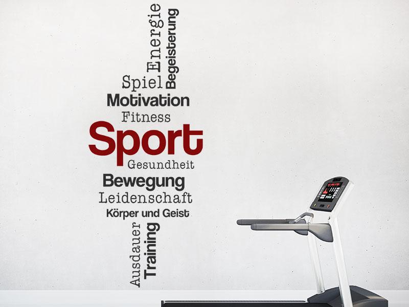 Wandtattoo Sport Worte Zweifarbig Wandtattoosde