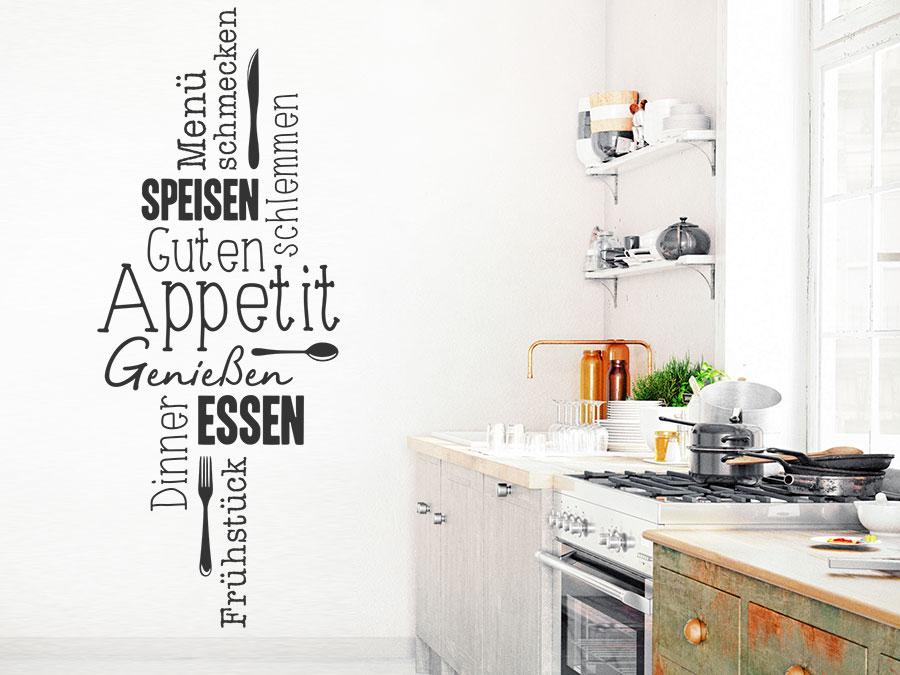 Wandtattoo Guten Appetit Worte als Wortwolke - Wandtattoos.de