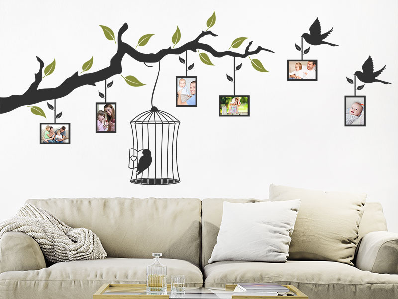 wandtattoo fotorahmen ast mit vogelk fig. Black Bedroom Furniture Sets. Home Design Ideas