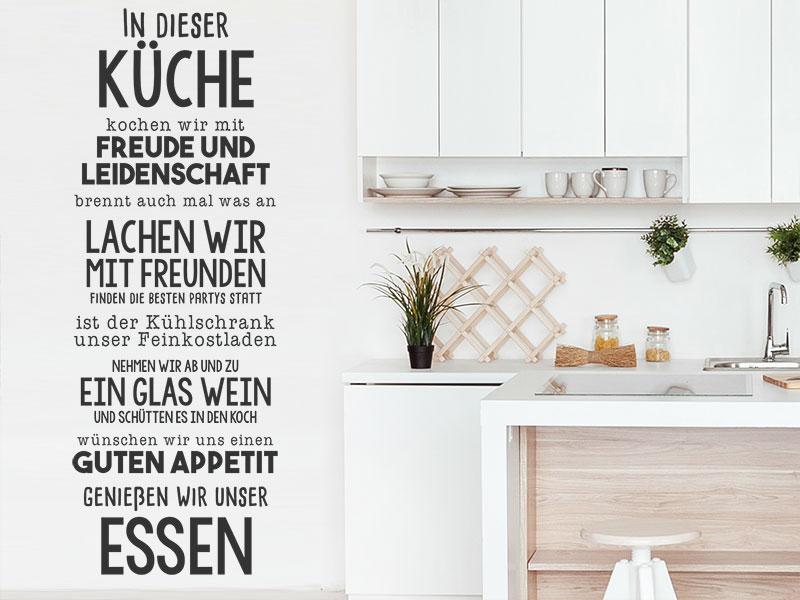 Wandtattoo In dieser Küche kochen wir mit Freude - Wandtattoos.de