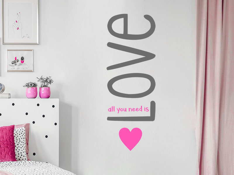 wandtattoo all you need is love. Black Bedroom Furniture Sets. Home Design Ideas
