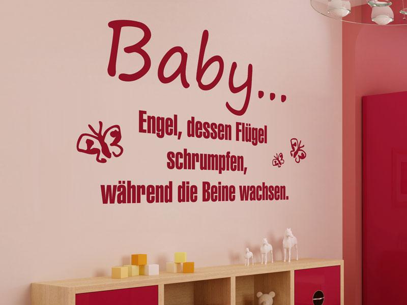 Wandtattoo Baby - Engel dessen Flügel schrumpfen | Wandtattoos.de