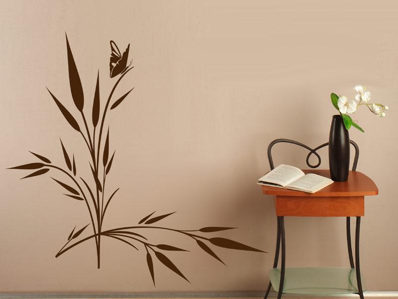 wandtattoo gr ser mit kleinem schmetterling deko gras. Black Bedroom Furniture Sets. Home Design Ideas
