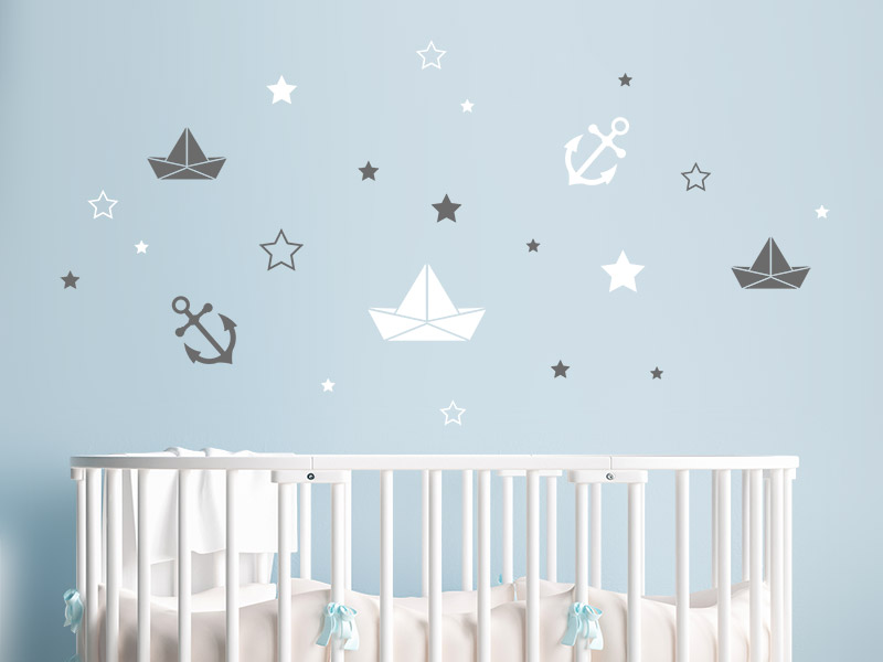 Wandtattoo set schiffe anker sterne f r babyzimmer - Wandtattoo sterne grau ...