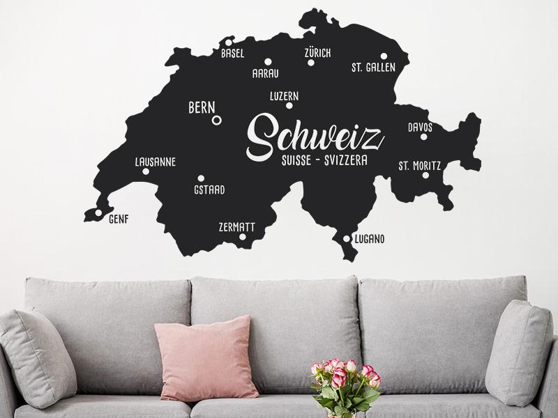Wandtattoo Schweiz Landkarte Wandtattoosde