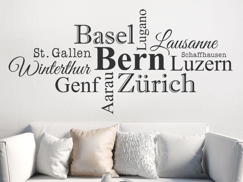 Wandtattoo Schweiz Städte Als Wortwolke Wandtattoosde
