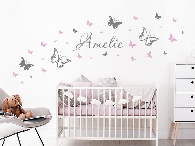 Wandtattoo Schmetterlinge mit Wunschname Kinder | Wandtattoos.de